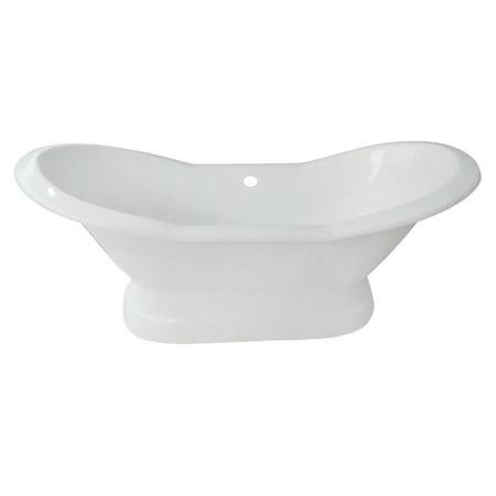 Aqua Eden 72-Inch Cast Iron Double Slipper Pedestal Tub No Faucet Drillings,