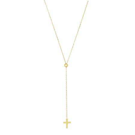 Friendship 14K Yellow Gold Shiny Textured Adjustable Cable Chain Necklace With Cross Element