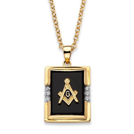 - Men's Emerald-Cut Genuine Black Onyx Masonic Pendant Necklace 14k Gold-Plated 20