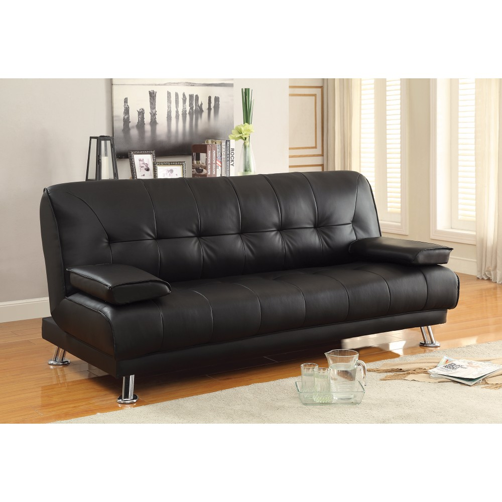 Charmant Faux Leather Convertible Sofa Bed With Removable Armrests, Black