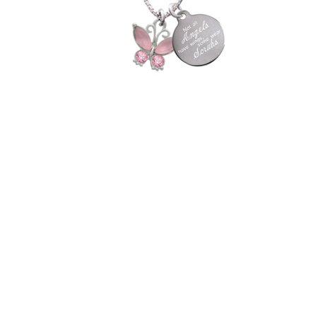 Silvertone Butterfly with Pink Wings & Pink Crystals Not All Angels Have Wings Some Wear Scrubs Engraved Necklace - Butterfly With Angel Wings