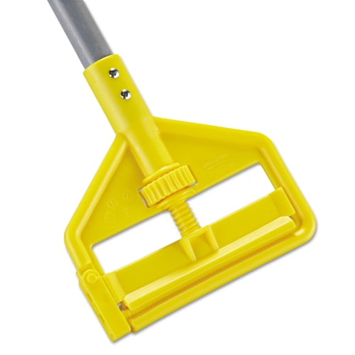 Rubbermaid Commercial Invader Fiberglass Side-Gate Wet-Mop Handle, Gray/Yellow