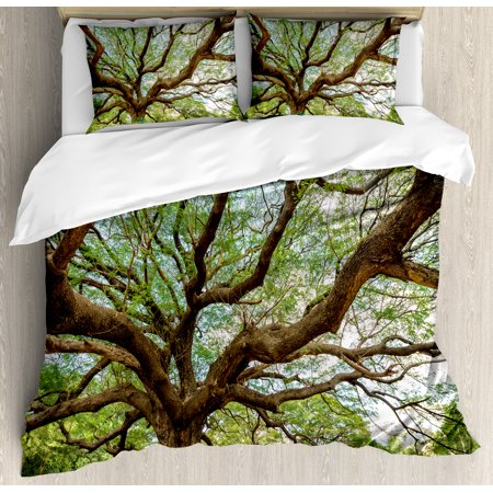 Nature King Size Duvet Cover Set  Magnificent Rain Tree In Thailand With Long Branches Rural Scenery Growth Picture  Decorative 3 Piece Bedding Set With 2 Pillow Shams  Brown Green  By Ambesonne
