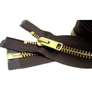 """ZipperStop Wholesale Authorized Distributor YKK® 27"""" inch Chaps Extra Heavy Duty Weight Jacket Zipper YKK #10 Brass ~ Separating ~ 570 September Brown (1 Zipper/pack) Crafter's Special"""