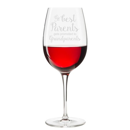 The Best Parents Gets Promoted To Grandparents Engraved 18 oz Wine (The Best Parents Get Promoted To Grandparents Card)