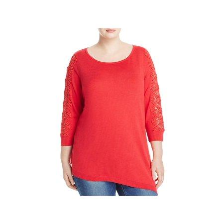 Love Scarlett Womens Plus Lace Trim Scoop Neck Tunic Sweater