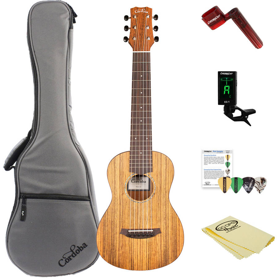 Cordoba Mini O Miniature Acoustic Nylon String Guitar with Gig Bag and ChromaCast Accessories
