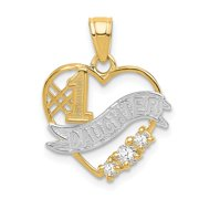 Solid 14k Yellow and White Gold Two Tone CZ Cubic Zirconia #1 Daughter Heart Pendant (16mm x 19.1mm)