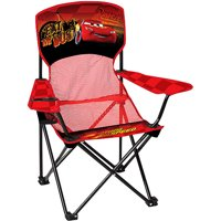 Disney Cars Mesh Kids Oxford Quad Folding Camp Chair with Arms and Cup Holder, Red