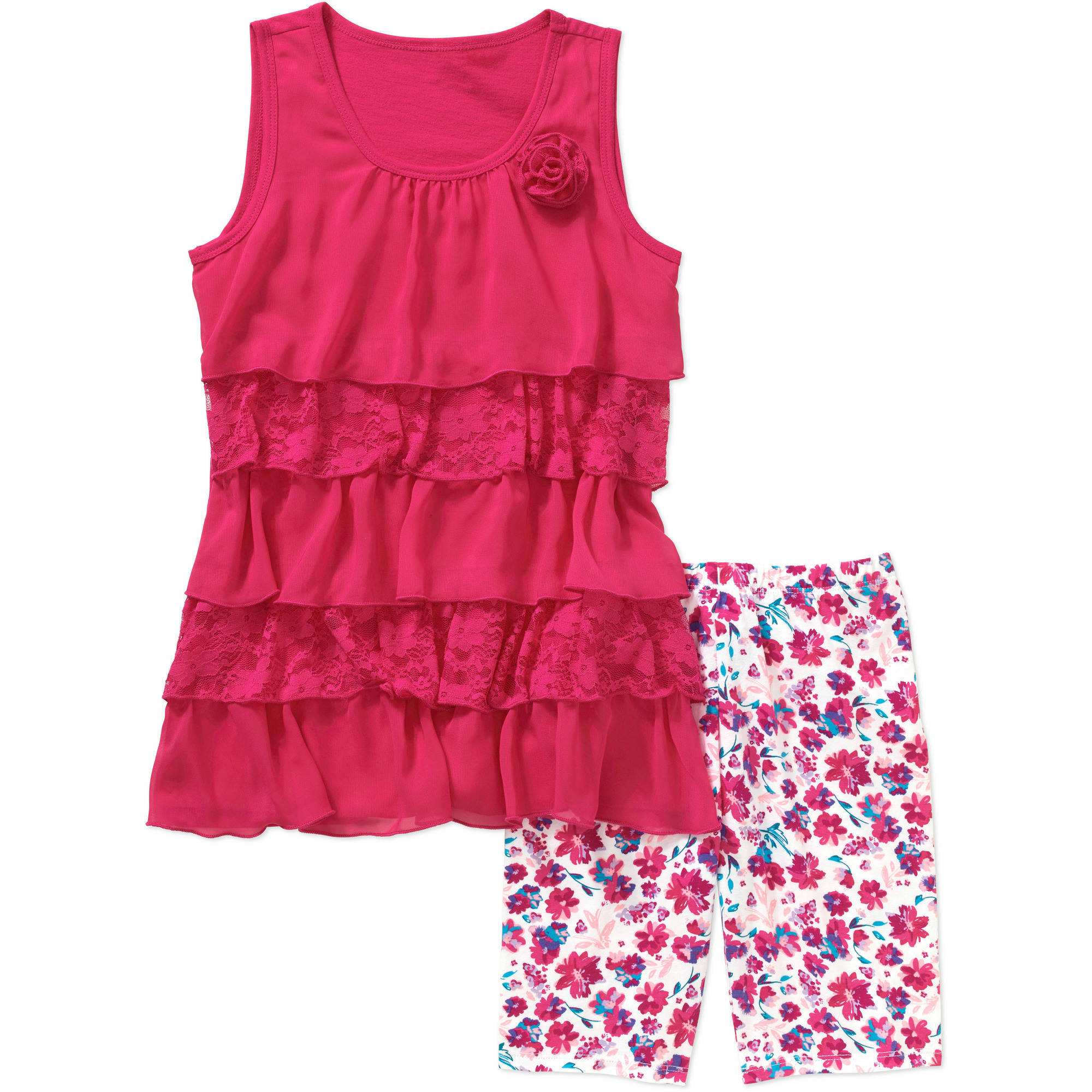 George Girls' Tiered Tank with Applique and Bike Short Set