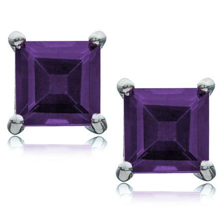 Rhodium Plated Sterling Silver Basket Sets Stud Earrings Princess Cut Genuine Purple Amethyst 5x5mm