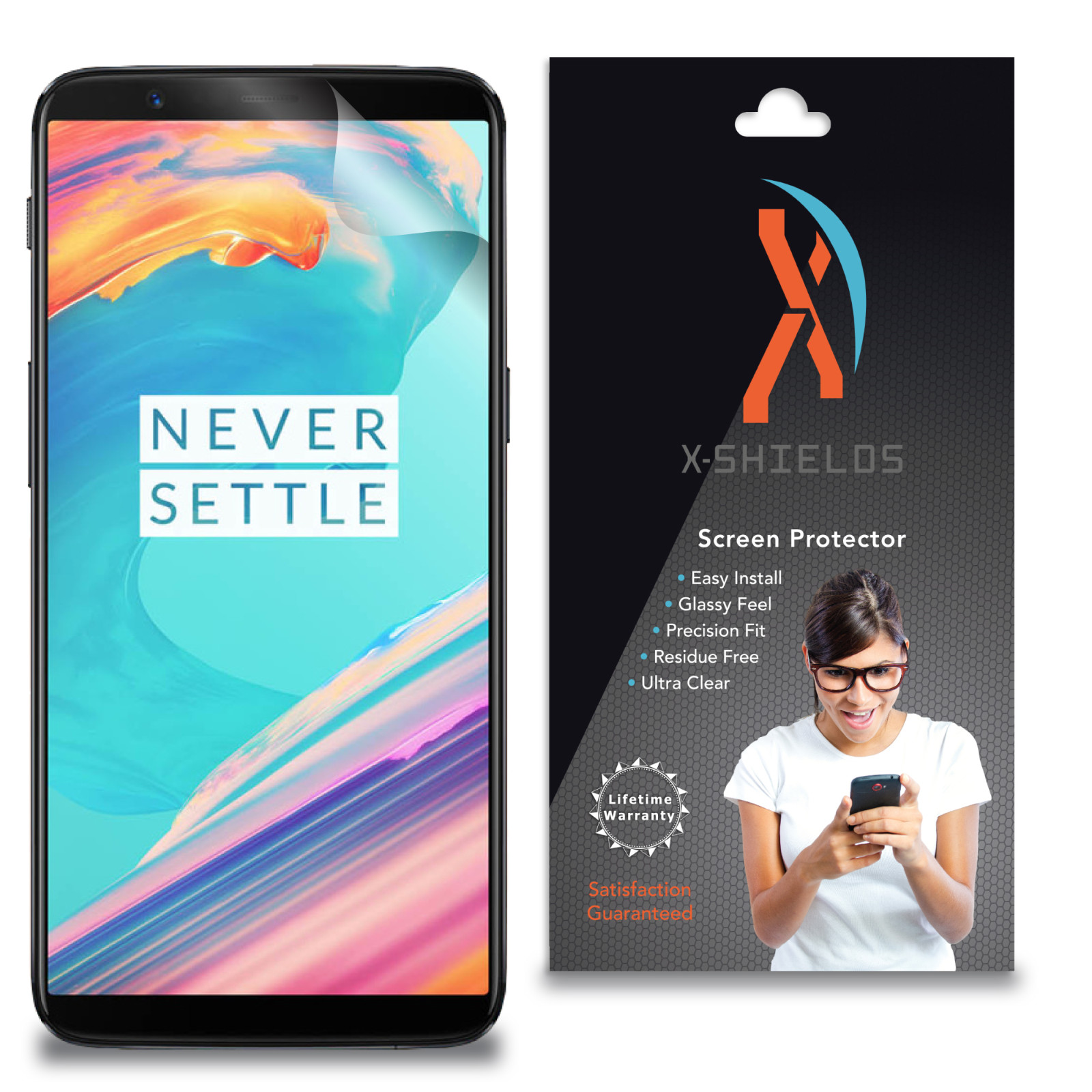 XShields© High Definition (HD+) Screen Protectors for OnePlus 5T (Maximum Clarity) Super Easy Installation [5-Pack] Lifetime Warranty, Advanced Touchscreen Accuracy
