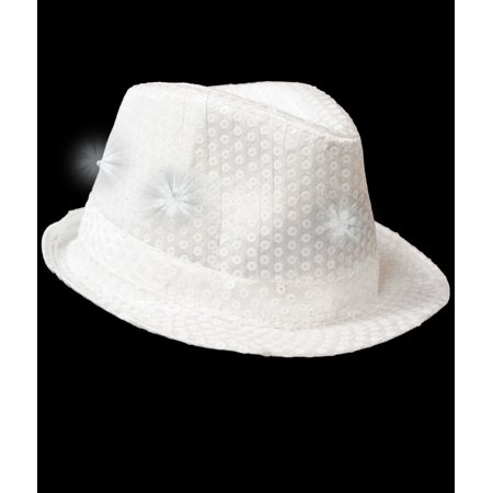 3e35d8660c23c Fun Central (AU099) 1 pc White LED Sequin Fedora
