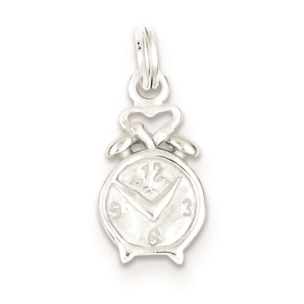 925 Sterling Silver 3-D Polished Clock Solid Charm Pendant 20mmx10mm