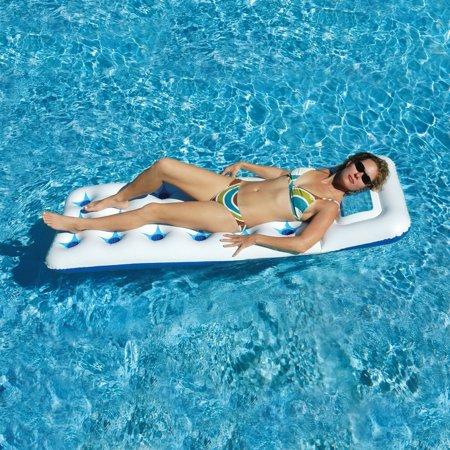 Solstice Vinyl Aquawindow Mattress Pool Float, White