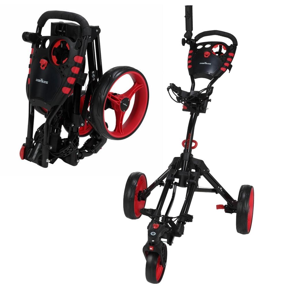Caddymatic Golf 360� SwivelEase 3 Wheel Folding Golf Cart Black Red by Caddymatic