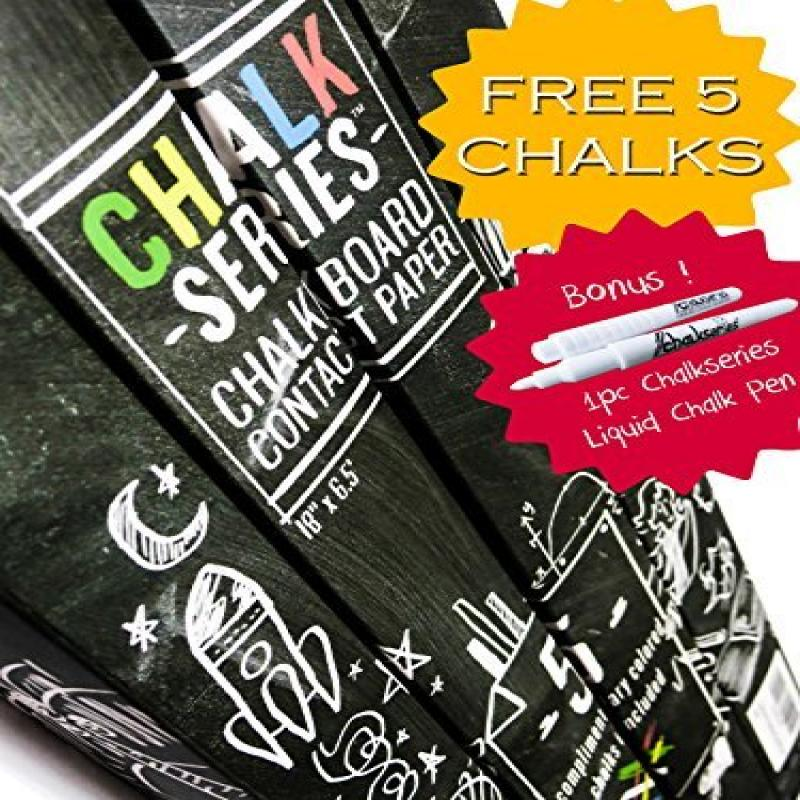ChalkSeries Chalkboard Contact Paper Roll With 5 Colored ...