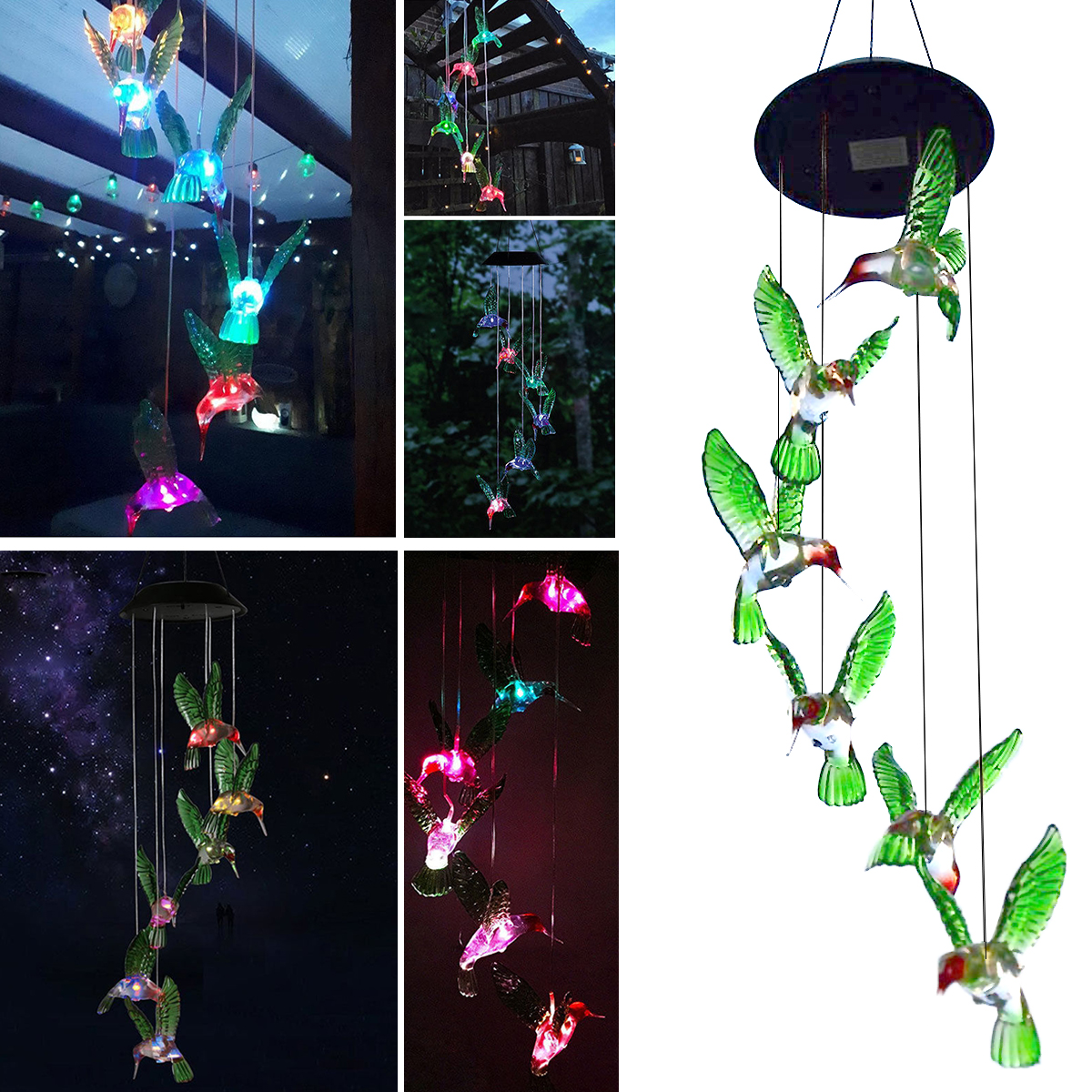 Hummingbird Solar Powered Bird Wind Chimes Outdoor Changing Color LED Bird Spinner Garden Decoration by