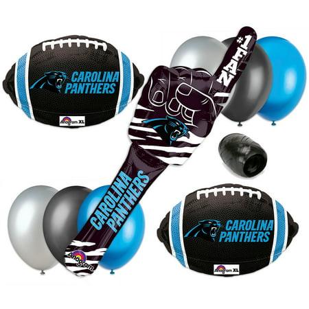 Carolina Panthers Super Bowl Football Spirit Stick 10Pc Balloon Pack Blue Silver
