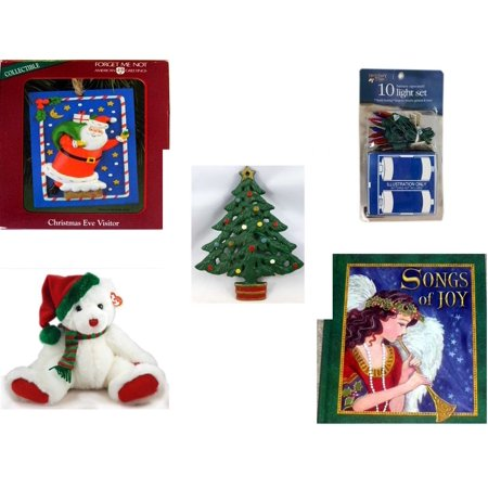 Christmas Fun Gift Bundle [5 Piece] - American Greetings Ornament  Eve Visitor -  Time Battery Operated 10 Light Set - Wrought Iron  Tree Trivet - TY Classic