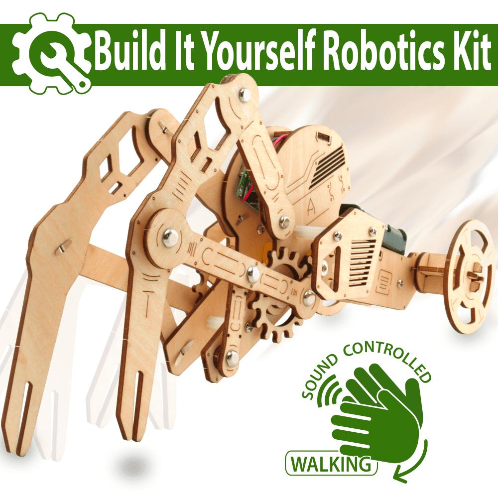 3D DIY Walking Robot Kit Mechanical Wooden Puzzle - Sound Controlled Crawfish Robotics Toy