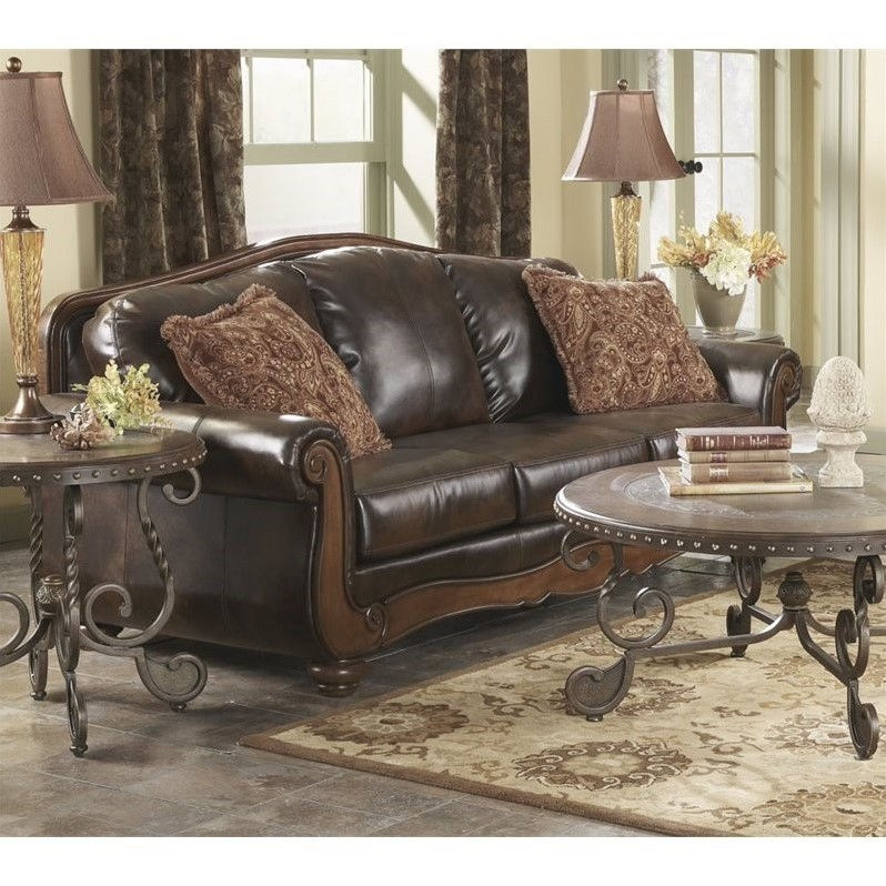Ashley Barcelona Faux Leather Sofa In Antique - Walmart.Com