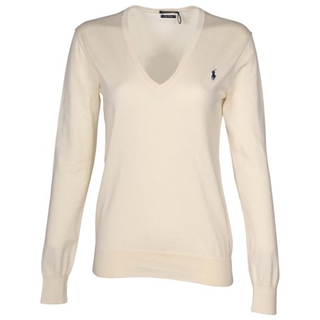 fdafc6fbaacb Polo Ralph Lauren - Polo Ralph Lauren Women s Pima Cotton V-Neck Sweater-Andover  Cream Navy - Walmart.com
