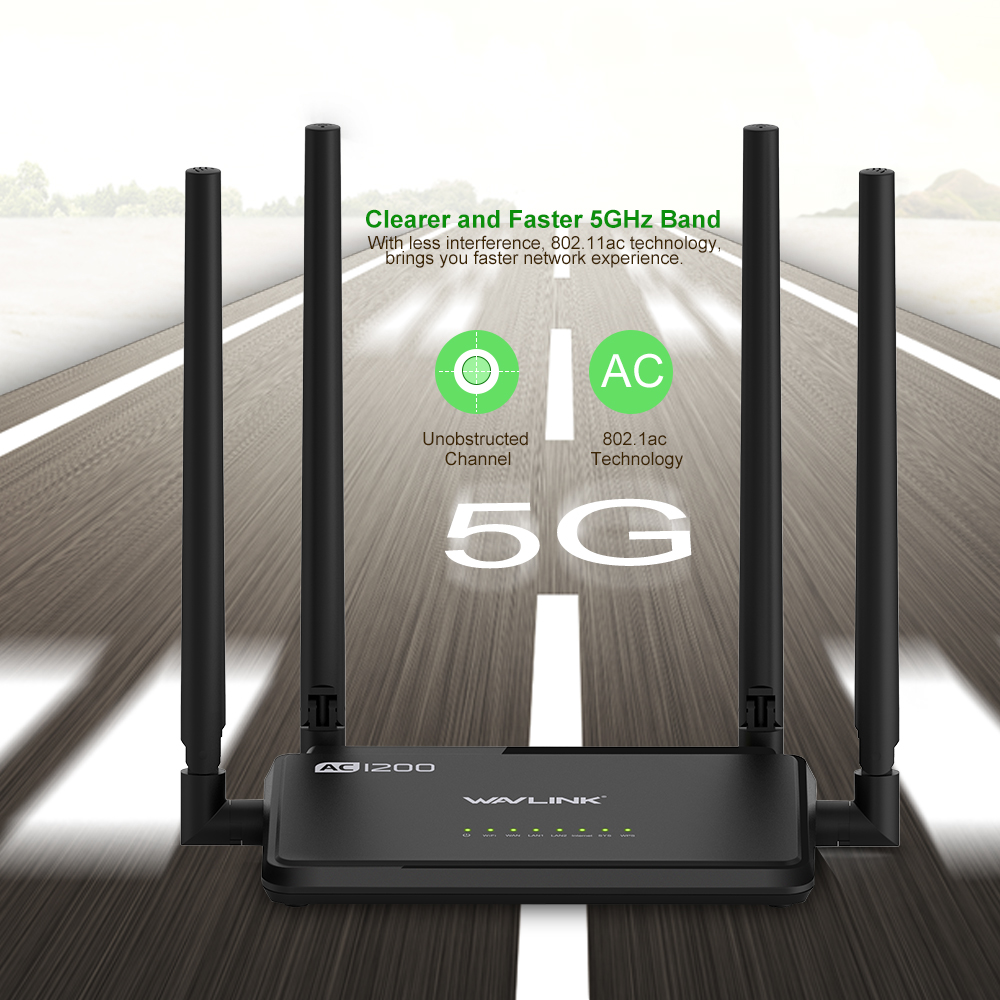 Wavlink AC1200 Dual Band Wireless Router 1200Mbs Wi-Fi Router APP Control External Antennas 4X 5dbi 2.4G/5GHz IEEE802.11ac WPS