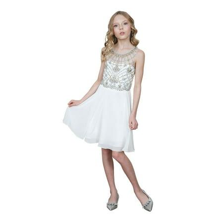 Girls Ivory Jeweled Bodice Chiffon Short Junior Bridesmaid Dress