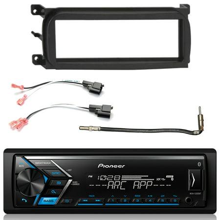 Pioneer Single DIN Bluetooth AM FM USB AUX Digital Media Car Stereo w/ Built-in Amp, Enrock Single-DIN Dash Kit , Metra 2 Pin Rectangular Speaker Connector, Antenna Adapter (Select 2001-2009 Vehicles)