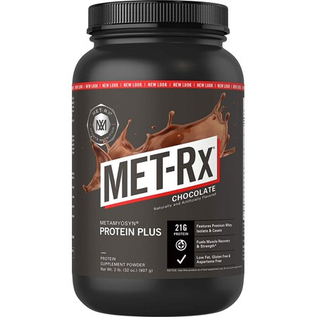 MET-Rx Protein Plus Powder, Chocolate, 2 lb, Complete Protein Blend, 43g of Protein and 3 g L-Glutamine Per Serving, Low Fat and Gluten Free, Ideal for Pre/Post Workout