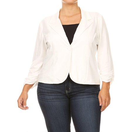 8388b6760db NEW MOA - NEW MOA Women s Solid Plus Size Ruched Sleeve Buttoned Business  Casual Blazer Jacket Made in USA - Walmart.com