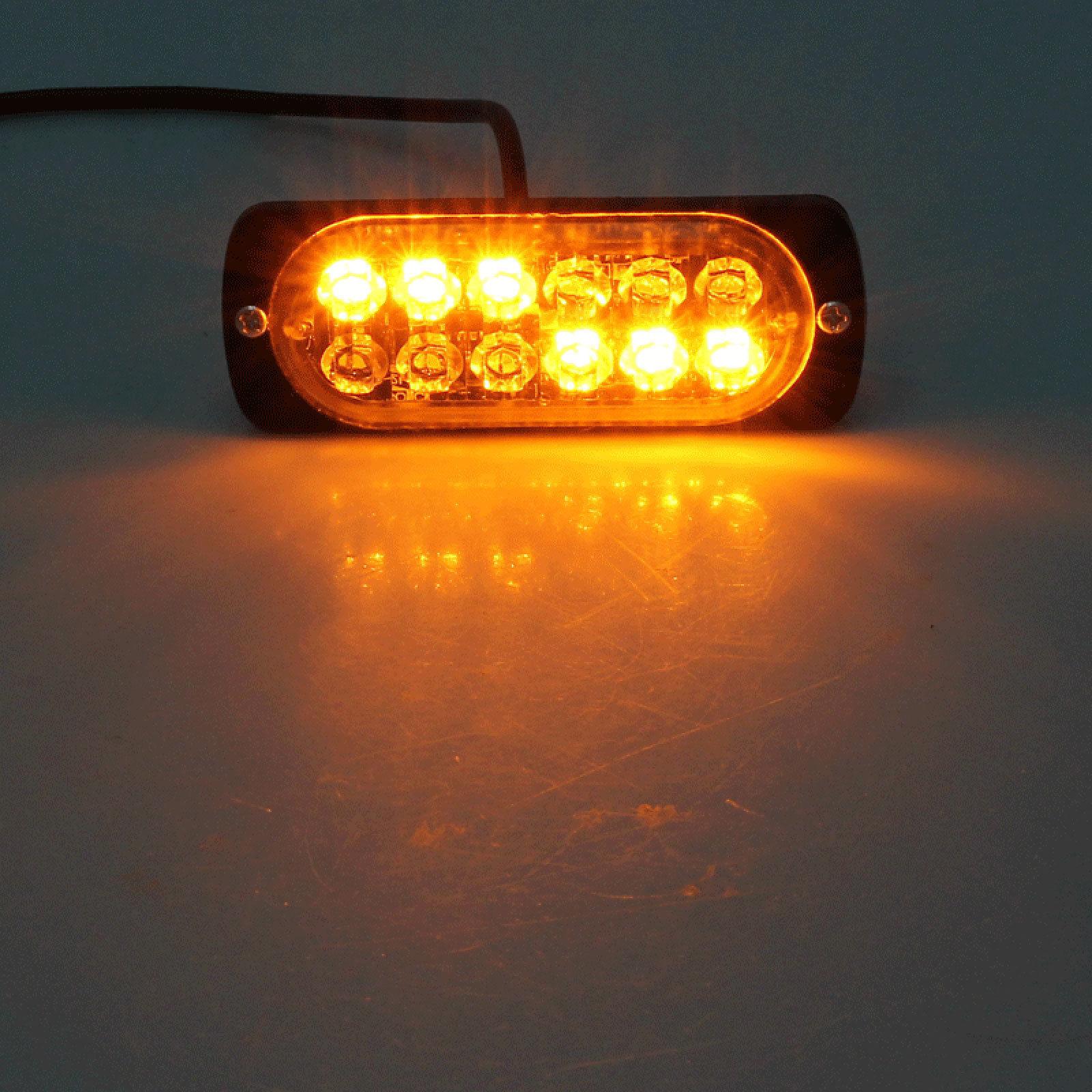 12LED Amber Car Emergency Flashing Light vehicle Strobe Flash Warning 12//24V