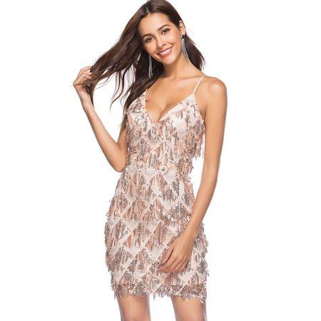 Sexy Women Bodycon Sequined Dress Backless Sleeveless Deep V-Neck Spaghetti Strap Party Club Slim Mini Dresses