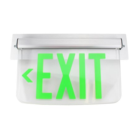 - Dual Lite Hubbell Lewsglna Le Series Edge-Lit Led Exit Sign, Wall Mount, Left Arrow, Green
