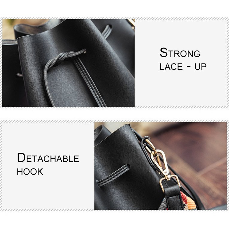 Black Fashion Colorful Strap Women Bucket Bag Vintage Shoulder Bag Leather Handbag