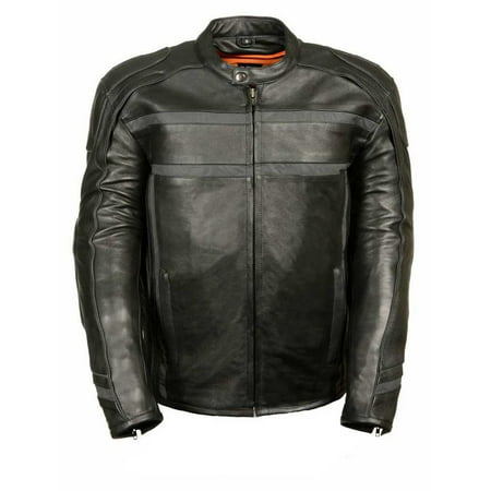 Milwaukee Leather Men's Reflective Band & Piping Scooter Jacket  (X-Large) - X-Large ML2083 Ducati Corse Leather Jacket