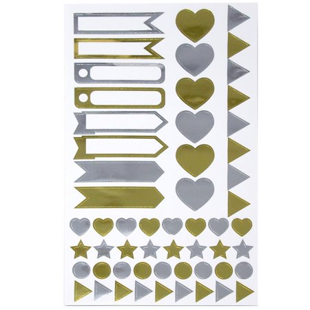 Assorted Shape and Pennant Label Scrapbooking Stickers, Gold/Silver, 6-Sheet