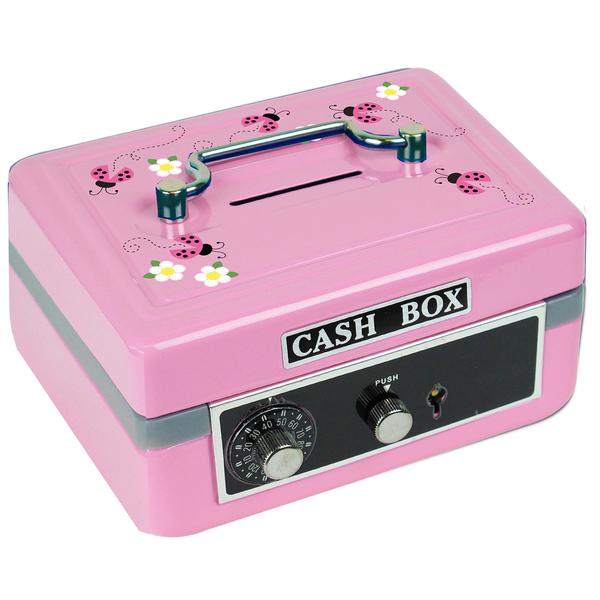 Personalized Pink Ladybugs Cash Box