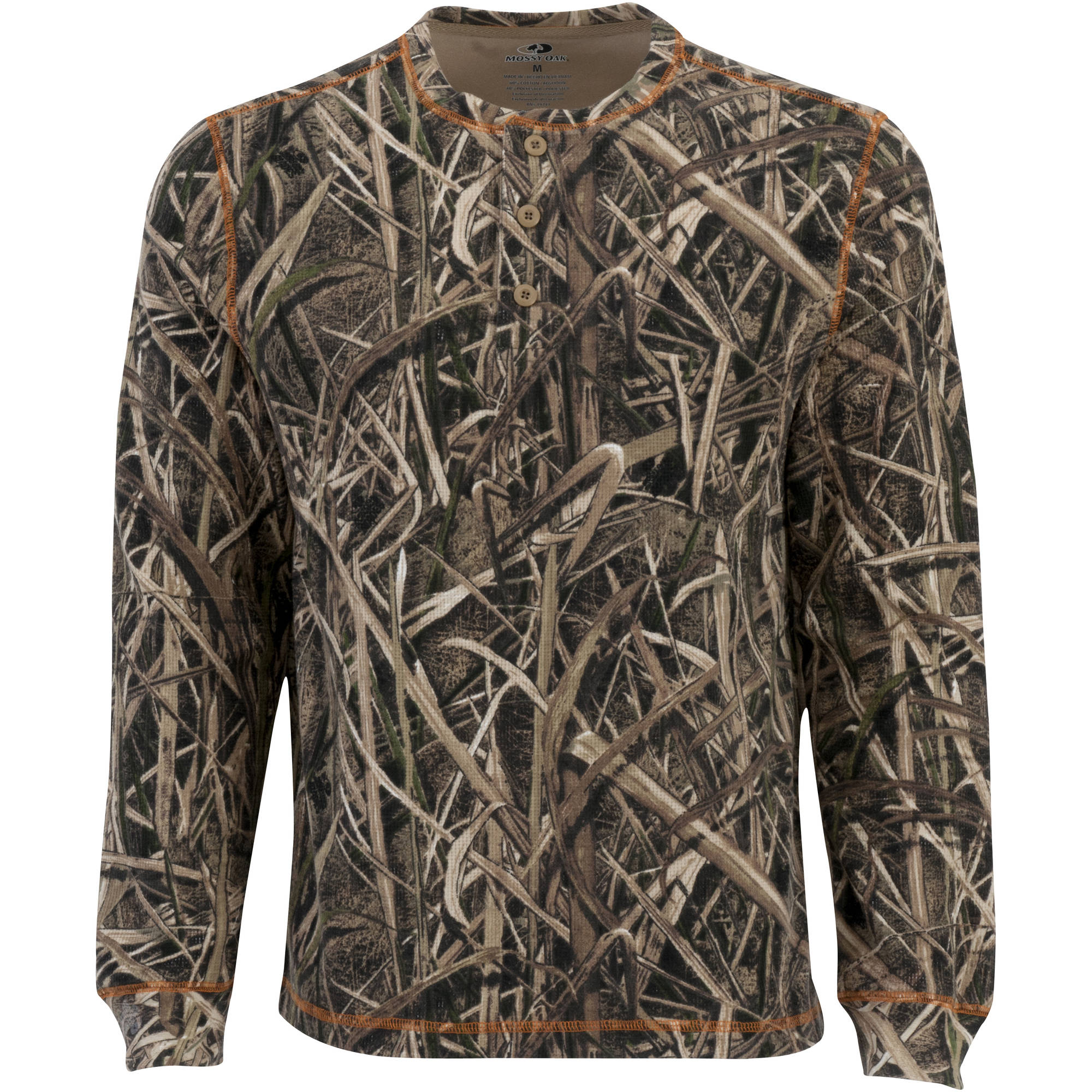 Mossy Oak Men's Long Sleeve Thermal Henley, Multiple Patterns