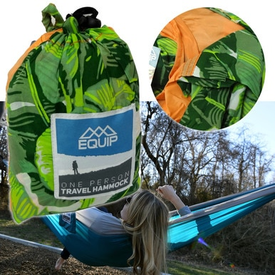 Equip 1-Person Travel Hammock Peachy Palm Swing Bed Camping Parachute Outdoor Sleep WLM8