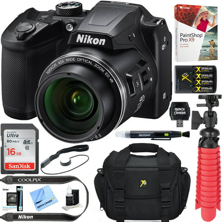 Nikon COOLPIX B500 16MP 40x Optical Zoom Digital Camera w/ WiFi - Black (Certified Refurbished) + 16GB SDHC Accessory