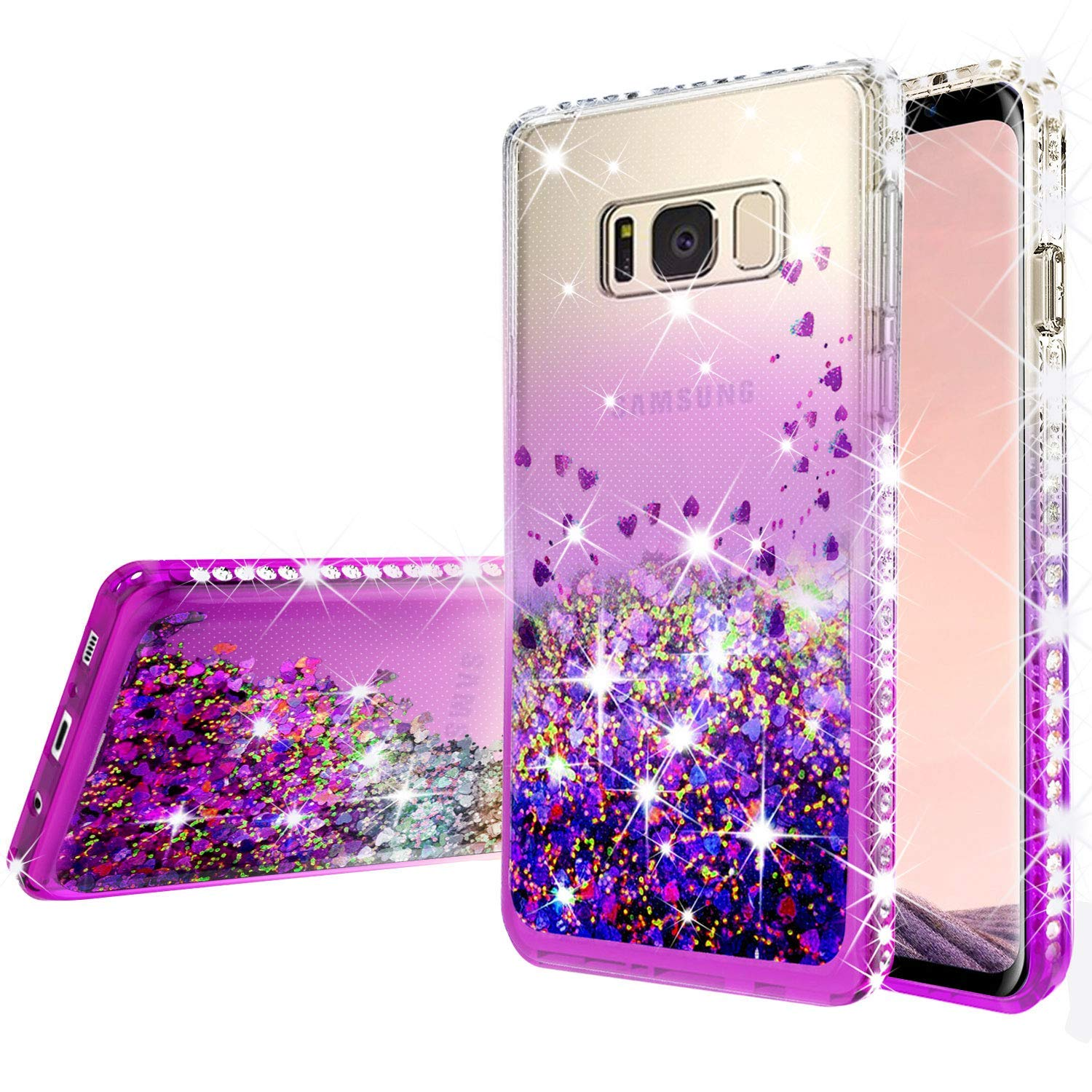 Samsung Galaxy S9 Casew/[Temper Glass Screen Protector] Liquid Glitter Phone Case Waterfall Floating Quicksand Diamond Protective Cover for Galaxy S9 - Purple/Clear