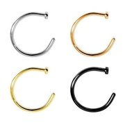 Nose Ring Hoop Rose Gold Gold Ion Black and Surgical Steel 20g,18g 4pc