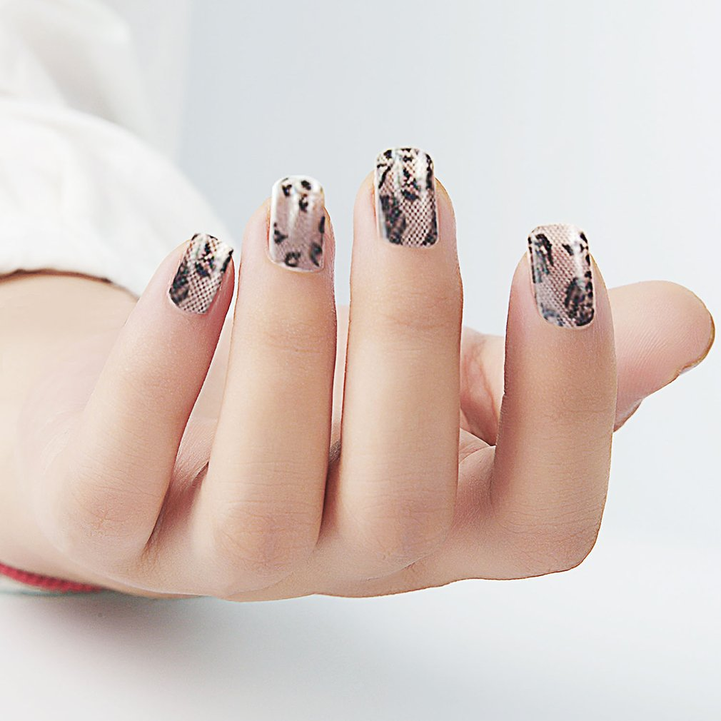 3D Black Lace Nail Art Foil Stickers Flower Nail Decals Tips Manicure Tool