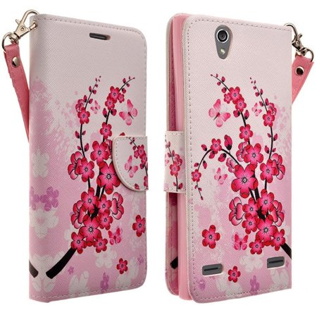 For Huawei Pronto LTE SnapTo H891L G620 - Wydan Hybrid Synthetic PU Leather Wallet Credit Card Money Slot Kickstand Protective Phone Case Cover with Strap Cherry Blossom
