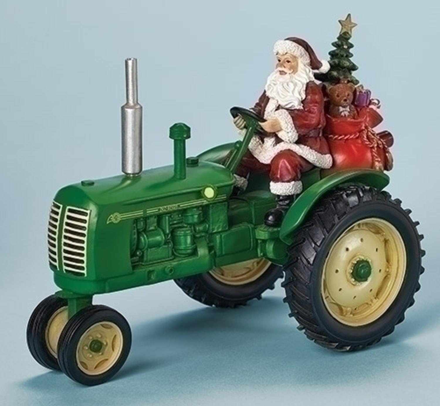 "10"" Amusements Musical Santa on a Green Tractor Battery Operated Christmas Decoration"
