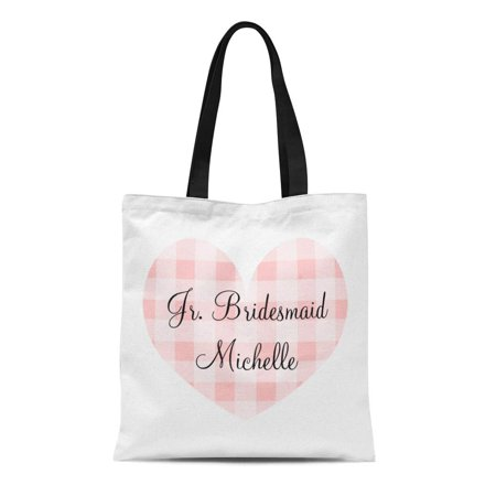 LADDKE Canvas Tote Bag Personalized Jr Bridesmaid Pink Heart Gingham Pattern Wedding Kids Reusable Handbag Shoulder Grocery Shopping Bags](Personalized Bridesmaid Bags)