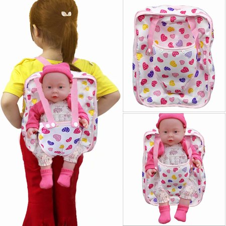 Pink Soft Chilren's Backpack Doll Carrier & Sleeping Bag Clothes & Accessory Storage for 18