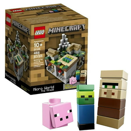 LEGO Minecraft Micro World: The Village 21105 Villager Pig Zombie Micromob Biome Build Top